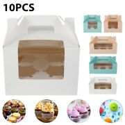10pcs 6 Cup Cake Cookie Windowed Cupcake Boxes With Removable Tray For Christmas