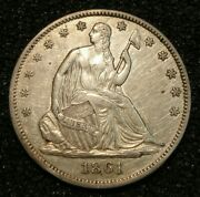 1861 Civil War Date Seated Liberty Half Dollar Silver Coin Au Details-hairlines
