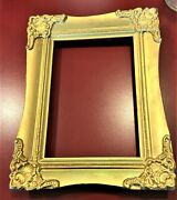 Beautiful Antique Gold Picture Frame Beaded 5x7 Picture No Glass