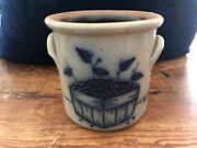 Salmon Falls Stoneware Blue Decorated Handled Crock Blueberry Basket Dover Nh