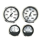 Faria Spun Silver Box Set Of 4 Gauges F/outboard Engines - Speedometer Tach...
