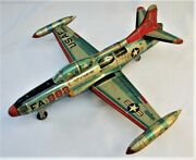 1950's Large Tin Friction Toy Lockheed F-94c Starfire Jet Plane - Made In Japan