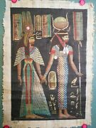 Vintage-egyptian Painting--isis And Queen Nefertari-papyrus--not The Grateful Dead