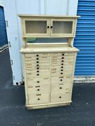 Antique Wood Weber Dental Cabinet 20 Drawers Project Piece 61 Ht