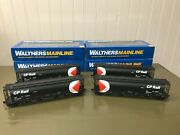 Set Of 4 Walthers Cp Rail 59and039 Cylindrical Hoppers Nib All Different Road And039s