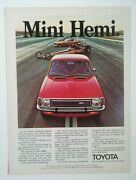 1972 Toyota Corolla 1600 Ad - Must See - Nhra Dragster + Mustang Funny Car