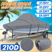 Heavy Duty Boat Cover Marine Grade Trailerable 17-25and039 Fishing Ski Bass Runabouts