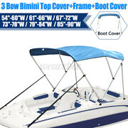 Boat 3 Bow Bimini Top Cover 6ft 54-90 Width W/ Boot And Framework Rear Pole Blue