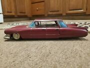 1961 Cadillac Tin Friction Toy Car Made In Japan By Bandai Toy Company