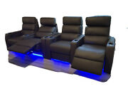 2 2-seat Leather Home Theater Recliner Dual Tilt, Led Lights, Cup Holder, Table