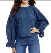 Free People Wishing Well Embroidered Round Neck Blouse Womens Xs Graphite Blue