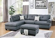 Modern Sectional Sofa L Shaped Couch Tufted Nickel Stud Arm Ottoman Blue Grey