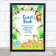 Guest Book Kids Birthday Animals Jungle Bright Colours Personalised Party Sign