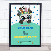 Cute Panda Blue Triangle Welcome Birthday Personalised Event Party Sign