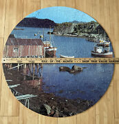 """Vtg Nappe Harbor Norway Huge 23"""" 650 Pc Round Guild Scenic America Jigsaw Puzzle"""