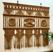 Vintage Large Macrame Wall Art Woven Tapestry Mid Cent 9' X 7 1/2' Local Pu Only