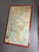 Original Vintage 1947 New York City Subway Station Wall Map Sign Brooklyn Queens