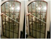 Pair Vintage Architectural 82 Metal Aged Wall Mirror Window Inspired