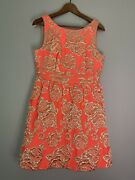 Neon Coral And Gold Brocade Anthropologie Ark And Co Dress Size M Nwt Prom Cocktail