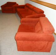 Mid-century Domani Burris Orange Couch And Pair Of Matching Chairs Comfortable
