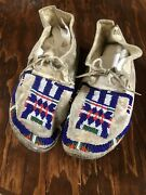 Sioux Native American Indian Girl Beaded Hide Moccasins 1890s
