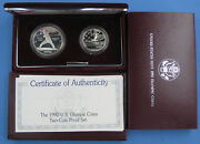 1992 Olympic Commemorative Proof Silver Dollar And Half 2pc Set Box And Coa