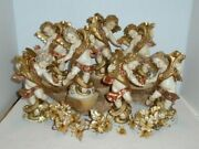 Lot Of 7 Vintage Fontanini Italy Cherubs Angels Candle Holders 5042 And 5043 6.5
