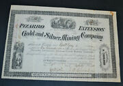 Pizarro Extension Gold And Silver Mining Company 1881 Antique Stock Certificate