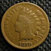 1870 Indian Head Cent. Rare Key Date With Some Headband Detail