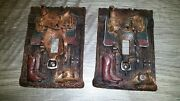 Western Country Rustic Decor Cowboy Hat, Boots, Saddle Switch Plates Wooden Look