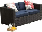 Patio Loveseat Sectional Rattan Corner Sofa Blue Cushions Removable Covers