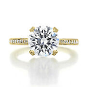 9 Mm Round Moissanite Diamond Certified Yellow Gold Antique Engagement Rings