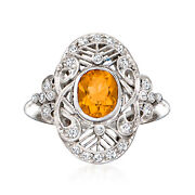 Vintage Citrine Ring With Diamonds In Platinum Size 5.5