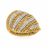 C. 1970 Vintage .16 Ct. T.w. Diamond Fashion Ring In 18kt Two-tone Gold. Size 7
