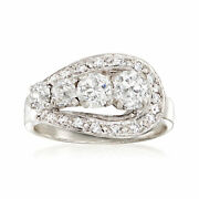 C. 1950 Vintage 1.40 Ct. T.w. Diamond Ring In 14kt White Gold. Size 6.25