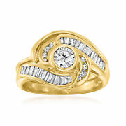 C. 1980 Vintage 1.05 Ct. T.w. Diamond Swirl Ring In 14kt Yellow Gold. Size 6