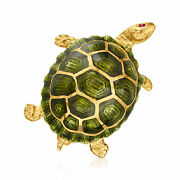 C. 1970 Vintage 18kt Yellow Gold Turtle Pin With Green Enamel And Ruby Accent