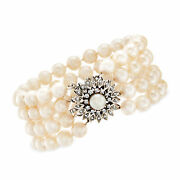Vintage 7-7.5mm Cultured Pearl Multi-strand Bracelet With Diamond Clasp In 14kt
