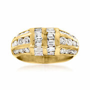 C. 1980 Vintage 2.10 Ct. T.w. Diamond Fashion Ring In 14kt Yellow Gold. Size 6.5