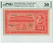 Netherlands Indies 50 Gulden 1929 Indonesia Pick 72b Pmg About Uncirculated 50
