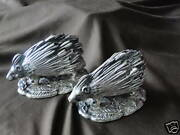Pair Porcupine, Hedge Hog Tooth Pick Holders English 1870 Silver Plated Antique