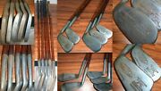 5 Antique Ag Spalding Bros Kro-flite Sweet Spot Wood Hickory Shaft Clubs Irons