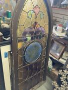 """Antique Stained Glass Leaded Church Window Tall 62"""" Tall 26"""" Wide W/repairs"""