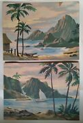 Pair Vintage Paint By Number Paintings Tropical Seascape Palm Trees 16andrdquox12andrdquo
