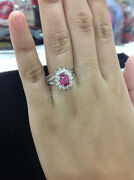 0.76ctw Natural Round Diamond 14k Solid White Gold Ruby Cluster Ring Size 7