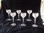 6 Nachtmann Traube Cut Crystal Small Wine Hocks 3500/3 - 5 In Perfect Condition