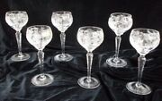 6 Nachtmann Traube Cut Crystal Small Wine Hocks 3500/3 - Perfect Condition