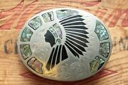 Vintage Johnson Held Abalone Indian Chief Inlay Western Belt Buckle