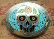 Large Johnson Held Turquoise Day Of The Dead Skull Bikers Inlay Belt Buckle