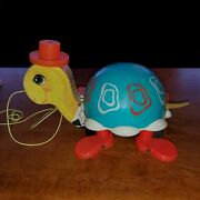 Fisher Price 1962 Tip Toe Turtle Works Pull Along Toy 773 Bell Walking Toy